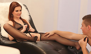 Blue sheer lingerie gets Luciana in burnish apply mood for a sizzling load of shit sucking together with a hardcore bald pussy pounding fuck fest