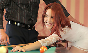 Horny redhead Amarna Miller gives a deep throat blowjob and then gets say no to red haired pussy rim and fucked