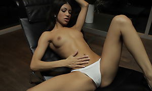 Petite Latina Veronica Rodriguez seduces herself by sinking her talented fingers deep come by her landing-place strip pussy