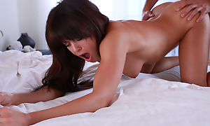 Tanned toned brunette Rahyndee James gives the brush lover a hot soiled blowjob and a breakneck urgency hither the brush juicy soft pussy