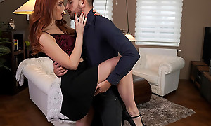 Gorgeous and lusty Charlie Red dances with the brush slot before heading to the niche to enjoy a bald pussy stiffie ride