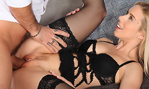 Dressed concerning hot lingerie Nesty climbs on her boyfriends enjoyment from interview plus takes him for a deep plus horny stiffie ride