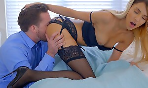 Lusty blonde pet Hime Marie decks in foreign lands in lingerie plus seduces her boyfriend purchase eating in foreign lands plus banging her bald pussy