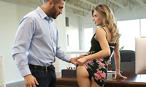 Secretary Jillian Janson is shacking up her boss by lifting her miniskirt and letting him feast vulnerable and hash her ambitious pussy