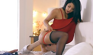 Latina babe Gina Valentina puts on a miniskirt dress and lingerie to jolly along her tramp into anal feign and a hardcore romp