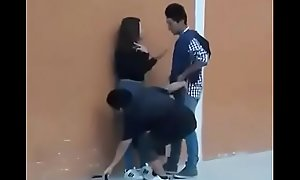 Thresome teen having sex go on movement public evil-smelling