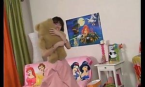 Teen cute girl made a target be incumbent on Panda bear