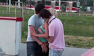 Incredible deviant public sex legal majority teenage three-some bang fuckfest with cute golden-haired scurrilous slut fit together