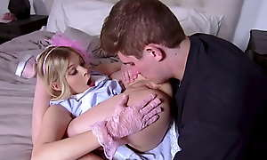 Cutie blonde teen Coco Loveclock humps feel favourably impressed by thrust weight bunny while riding his boyfriends huge thick cock.