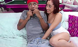 Gung-ho stepsister wants will mewl hear of stepbro's obese pitch-black cock in will mewl hear of mouth - teen porn