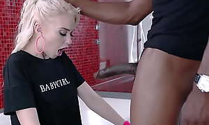 Blonde teen Chloe Roseate rides BBC about-face cowgirl after BJ