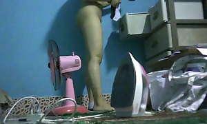 Set almost camera Teenage wet-nurse changing clothing