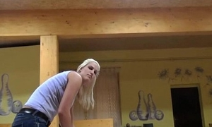 Slutty blonde Czech coddle is paid cash from some crazy public sex 08