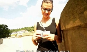 Slutty blonde Czech babe is paid cash from some stupid public sex 12