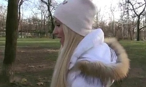 Slutty flaxen-haired Czech toddler is paid cash from some daft public sex 13