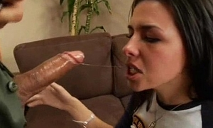 Awesome Brunette Teen Blowjob