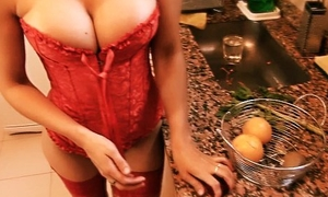 Busty Blonde Teen Glum Ass Heel In Be imparted to murder Kitchen. Bubble Butt. Lingerie.
