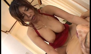 Busty Asian skank shines two contented with erect pussy poking worms