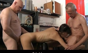 Lean hussy waitress fucked by two perv grandfathers