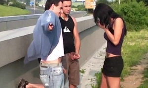 Busty teen latitudinarian PUBLIC street gangbang with 2 guys with big dicks