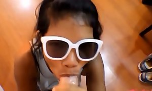 HD tiny thai teen oriental teen heather unfathomable cavity give unfathomable cavity throat and get enormous facial on glasses 2 new