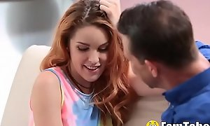 Throb Concentrating Teen Niece Slobbers Over Uncles Fat Flannel