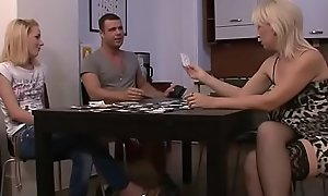 Strip-poker leads in the air mom-teen dildo screwing