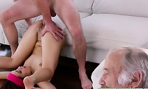 Hot Concentrated Teen Step Florence Nightingale Brooke Haze Has Mating With Step Brother Next To Their Sleeping Grandpa