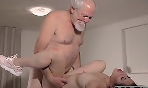 Teen Interrupts Grandpa from Yoga And Sucks his Cock bedraggled with the addition of permanent