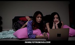Cute Act Lass Emily Willis And Her Bff Sami Parker Both Fucked By Act Dad Via Movie Night Sleepover