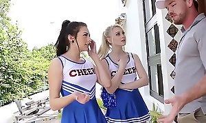 Teeny teen cheerleader squad leman their perv coach