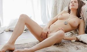 Breasty gal jilling gone in an artistic porn clip