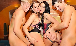 B-day college have a passion party in rub-down the pool