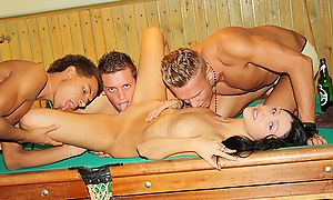 Black-hearted fucked hard above the pool table