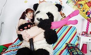 Sexy girl fucks nearby nasty panda bear