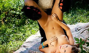 Naughty girl was tied added to fucked wide of Panda