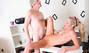 Nelya is a sexy blonde with a great body, with the addition of has her climax lifted roughly have her sexy tits licked with the addition of sucked by her older lover.