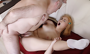 Though she is still a student, it turns out that she craves be fitting of older men, especially be fitting of her teacher. She spreads her long slim legs and begs him to fuck her holes.